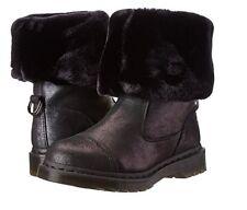 Dr. Martens Pasha Black Fold Down Faux Fur Suede Winter Boots 5