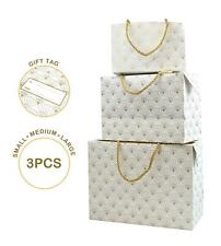 3 Gift Boxes Presents Christmas Wedding Small Large Paper Decorative Gold Set