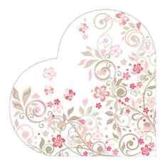 12 Paper Napkins BUTTERFLIES GARDEN Round HEART DECOUPAGE Valentine's Day