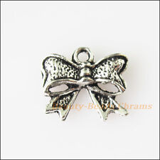 20Pcs Antiqued Silver Tone Butterfly Bow Charms Pendants 10.5x12mm