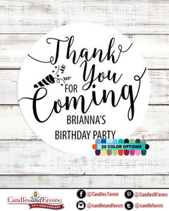 Thank you for coming! Birthday Party Personalized Party Favor Round Stickers