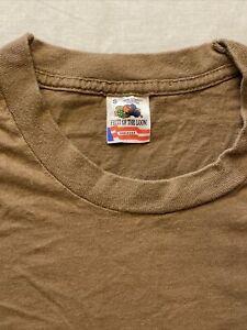 "VTG 80s Blank Brown T Shirt Fruit Loom Single Stitch Small Tall 16x29"" Military"