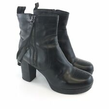 Kurt Geiger UK5 Black Leather Ankle Strap Zip Up Hippies Festival Heeled Boots