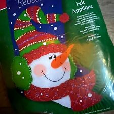 """18""""  """"Frosty Stocking"""" Christmas Stocking Kit 8132 Sequins Dimensions Felt Works"""