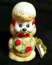 "Vintage Jasco Critter Bell Poodle Dog Red Bows Porcelain Bisque Taiwan 4.25"""