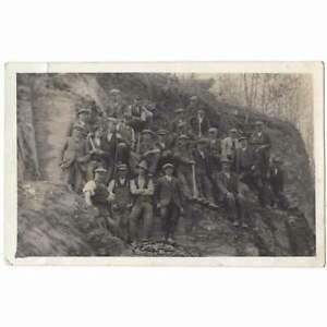 CWRTNEWYDD Workmen at Allt Goch Quarry, RP Postcard by Jones of Llandyssul