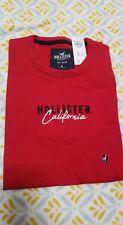 HOLLISTER Men's Applique Logo Graphic T-Shirt Short Sleeve NEW RED BLACK WHITE