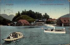 Schiffe 1911 Ruderboot mit Personen Dampfer Königssee Gasthof zum Schiffmeister