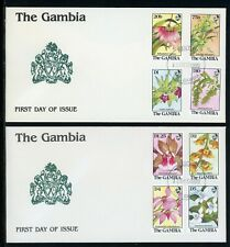 Gambia Scott #918-925 FIRST DAY COVERS (2) Orchids FLORA $$