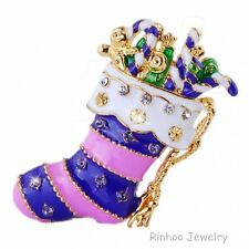 Unique Christmas Gift Women Lady Shoe Brooch Pin Crystal Rhinestone Gold Jewelry