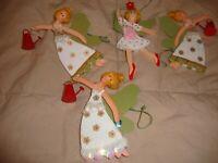 "Lot (4) Vintage Fairy Princess Ballerina Wood Ornaments- Spring Theme 6""     281"