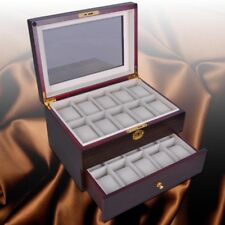 20 Slot Ebony Wood Watch Box Display Case Glass Top Jewelry Storage Organizer