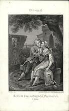 Stampa antica THUMMEL Innamorati che si baciano 1860 Antique print Alte stich