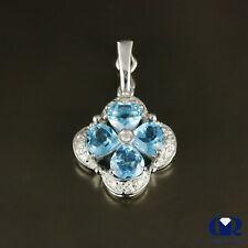 1.40 Ct Natural Blue Topaz & Diamond Pendant In 18K White Gold