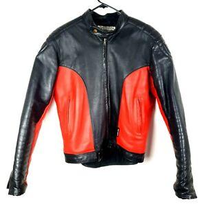 Vintage Walden Miller Leather Motorcycle Jacket Women Size 42 Red Black