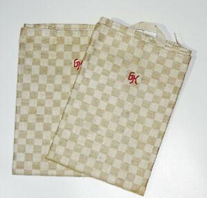 2 Leinen Geschirrtücher 47,5 x 98 cm Karo Muster Monogramm ! (2
