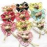 10/50PCS Ribbon Flowers Bows Padded Appliques Wedding Decor Lots Mix A443
