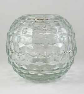 Round Clear Glass Fairy Lamp Candle Holder Home Interiors Homco Cubist