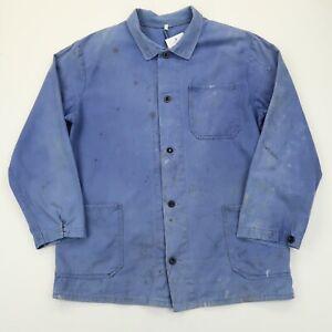 VINTAGE French EU Worker CHORE Work Shirt Jacket Worn Faded SZ Medium (G453)