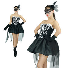 Sexy Ladies Womens Skeleton Skelly Von Trap Halloween Fancy Dress Outfit Costume