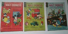 WALT DISNEY'S COMICS AND STORIES VOL 24 ISSUE #8,9,12 GOLD KEY 1964 F+ 6.5