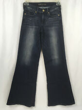 Express Wide Leg Flare Womens Jeans Size 0R stretch lightly distressed hippie