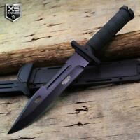 """Combat SURVIVAL Black Hunting Tactical BOWIE Fixed Blade Knife + SHEATH 13.5"""""""