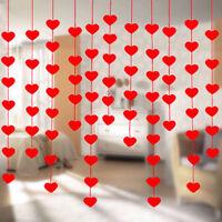 Red Love Heart Bunting Banners Garland Wedding Valentine's Day Birthday Decor