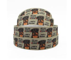 """Grosgrain Rottweiler Rottie Lover Dog Breed Ribbon 22mm 7/8"""""""