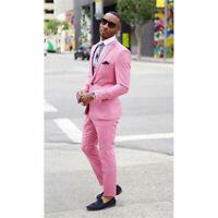 Men Pink Slim Fit Groom Suit Tuxedos Formal Groomsmen Wedding Suits Custom Made