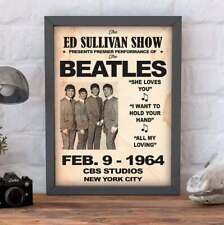 THE BEATLES on The Ed Sullivan Show 1964. Reproduction print/poster