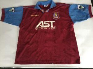 New Adult Reebok Aston Villa Home Short Sleeved Football Shirt Jersey Large AST