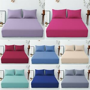 "EXTRA DEEP 16""/40 cm FITTED BED SHEETS Percale Single Double Super King Size"