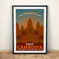 CAMBODIA ANGKOR WAT VINTAGE Retro TRAVEL Poster Art Print A4 SIZE Glossy Gift