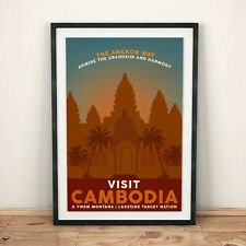 PHOTOGRAPH LANDMARK ANGKOR WATT STATUES BUDDHA CAMBODIA ART PRINT POSTER MP5576B