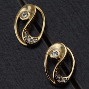 Classy Simple Nice White CZ Gems Jewelry Yellow Gold Filled Stud Earrings h2754