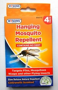 4pk x Citronella Slow Release Hanging Insect Mosquito repellent Bug Wasp Fly