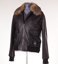NWT $13400 CESARE ATTOLINI Mink-Lined Leather Bomber Jacket 50/40 Fox Fur Collar