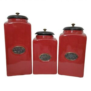 Lot of 3 PIER 1 Ceramic Kitchen Canister Storage Set Containers Red Black Vacuum
