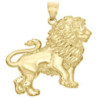 "Genuine 10K Yellow Gold Full Walking Lion King Body Pendant Unisex 1.50"" Charm"