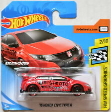 HOT WHEELS 2018 HW SPEED GRAPHICS '16 HONDA CIVIC TYPE R #2/10 RED SHORT CARD