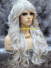 Long Wavy Layered With Bangs Silver White Full Synthetic Wig Hair Piece Heat Ok