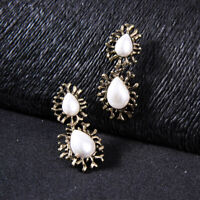 Earrings Nails Golden Two Drop Pearl White Pattern Coral Retro XX35