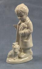 Kind mit Dackel  porzellanfigur porzellan figur  gemarkt super süß alt