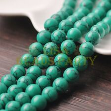 20pcs 10mm Round Natural Stone Loose Gemstone Beads Green Turquoise