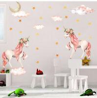 Moon Unicorn Wall Sticker Star & Clouds Girls Kids Room Nursery Decor Wall Decal