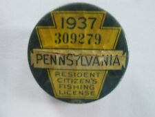 Vintage 1937 Pennsylvania Fishing License With Matching Paper