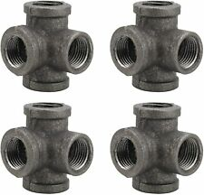 4 Way Pipe Fitting 1/2 Inch Vintage Style Threaded Pipe Nipple Malleable Iron