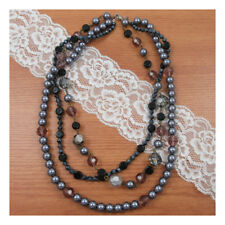 "18"" Necklace Costume Jewellery Black &Silver Beads Crystal nice Boho Fashion 225"
