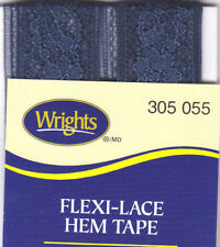 WRIGHTS NAVY BLUE (055) FLEXI-LACE HEM TAPE-3 YDS-REPAIR, CLOTHING, SEWING